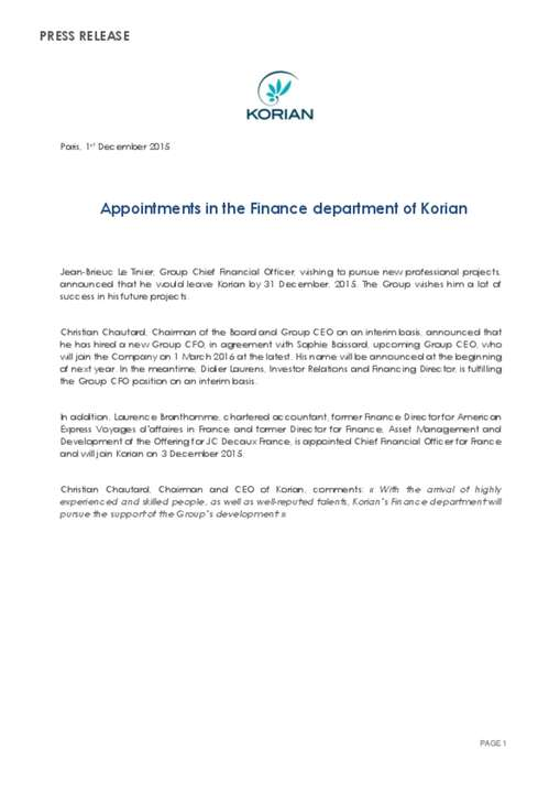 Appointments in the Finance department of Korian