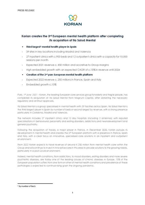 Korian creates the 3rd European mental health platform after completing its acquisition of Ita Salud Mental