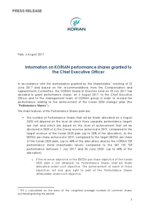 Information on KORIAN performance shares granted to the Chief Executive Officer