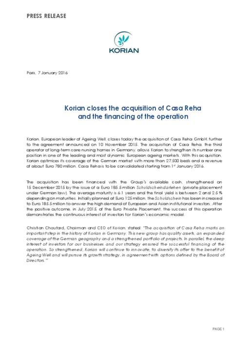 Korian closes the acquisition of Casa Reha