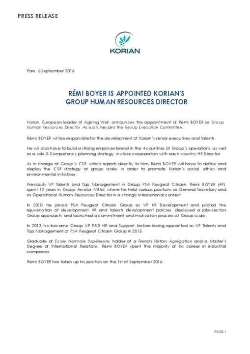 Rémi Boyer is appointed Korian's Group Human Resources Director