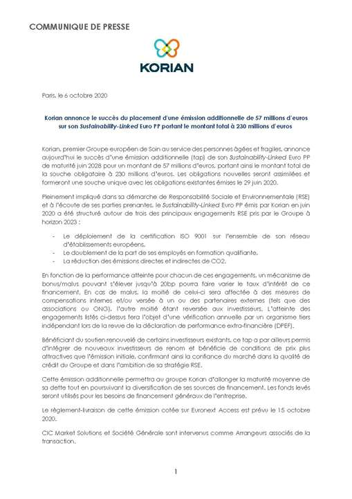Korian annonce le succès du placement d'une émission additionnelle de 57 millions d'euros sur son Sustainability-Linked Euro PP portant le montant total à 230 millions d'euros