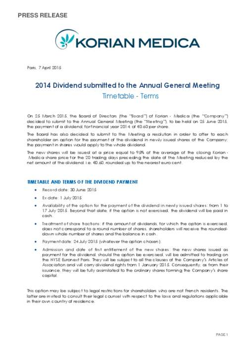 2014 Dividend submitted to the Annual General Meeting