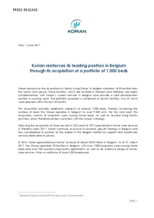 Korian reinforces its leading position in Belgium