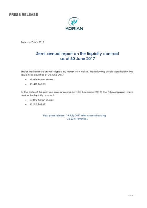 Semi-annual report on the liquidity contract as at 30 June 2017