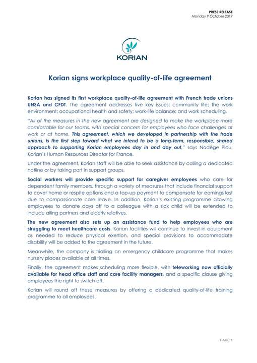 Korian signs workplace quality-of-life agreement