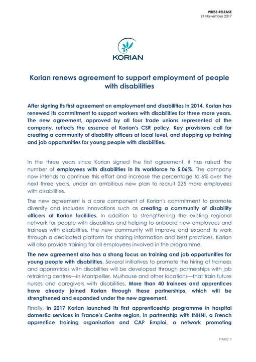 Korian renews agreement to support employment of people with disabilities
