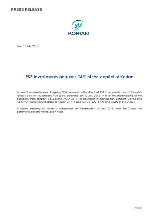 PSP Investments acquires 14% of the capital of Korian