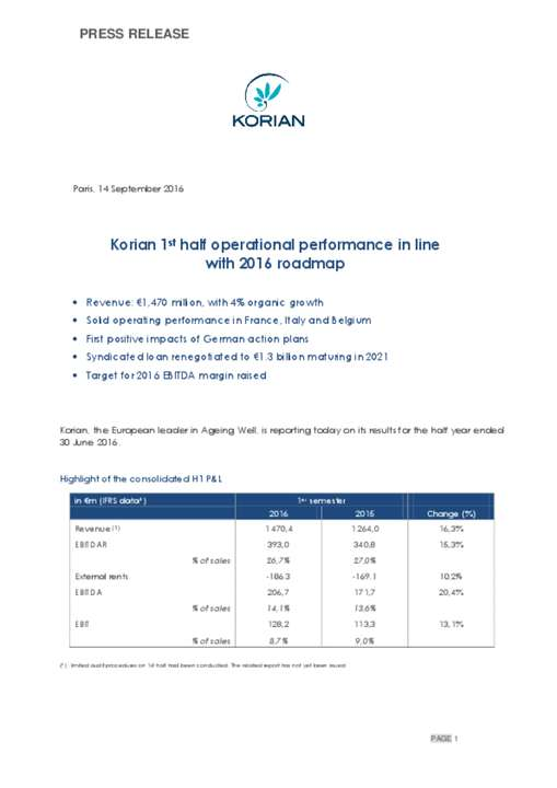 Korian 1st half operational performance in line with 2016 roadmap