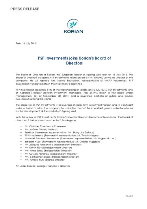 PSP Investments joins Korian's Board of Directors