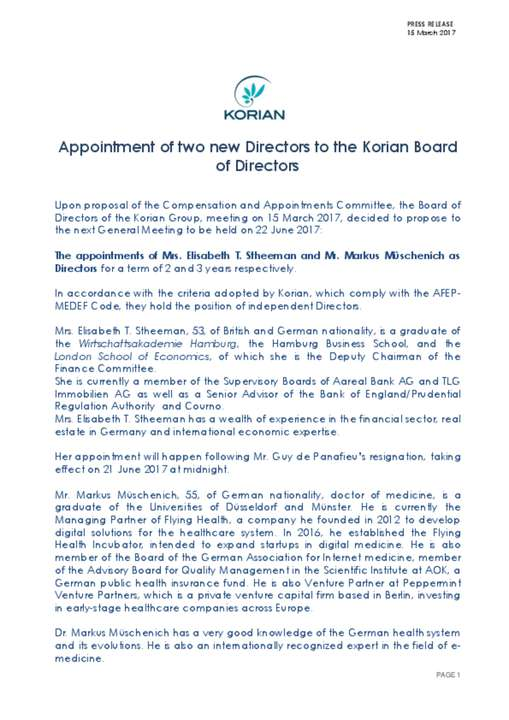 Appointment of two new Directors to the Korian Board of Directors