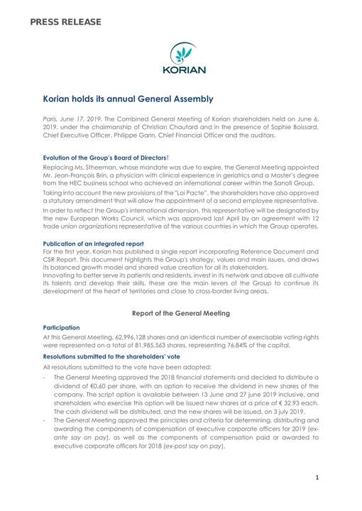 Korian holded its annual General Assembly