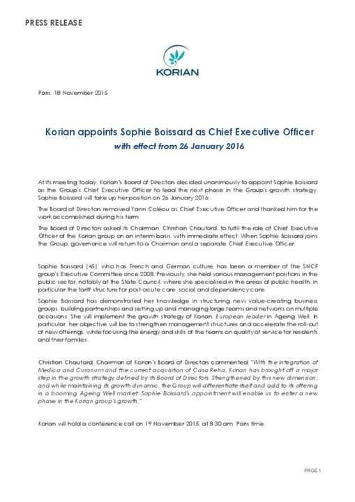 Korian appoints Sophie Boissard as Chief Executive Officer
