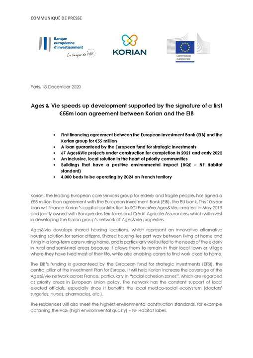 Ages & Vie speeds up development supported by the signature of a first €55m loan agreement between Korian and the EIB
