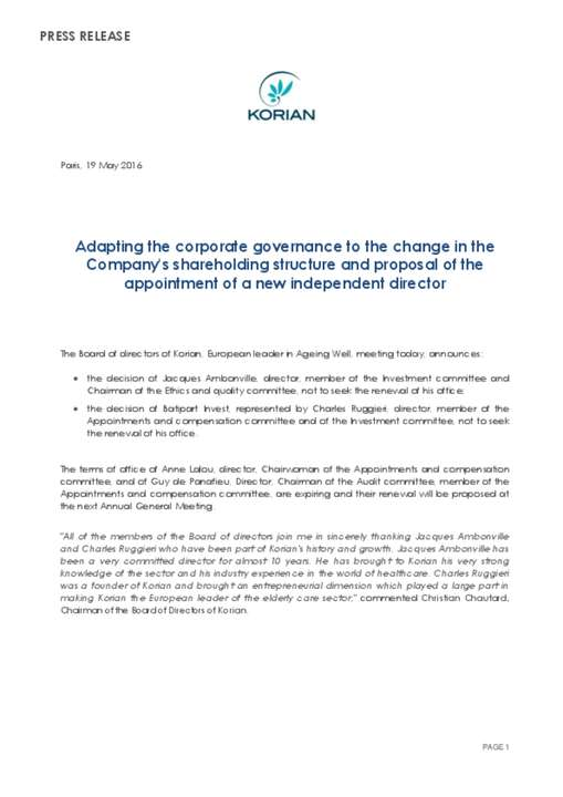 Adapting the corporate governance to the change