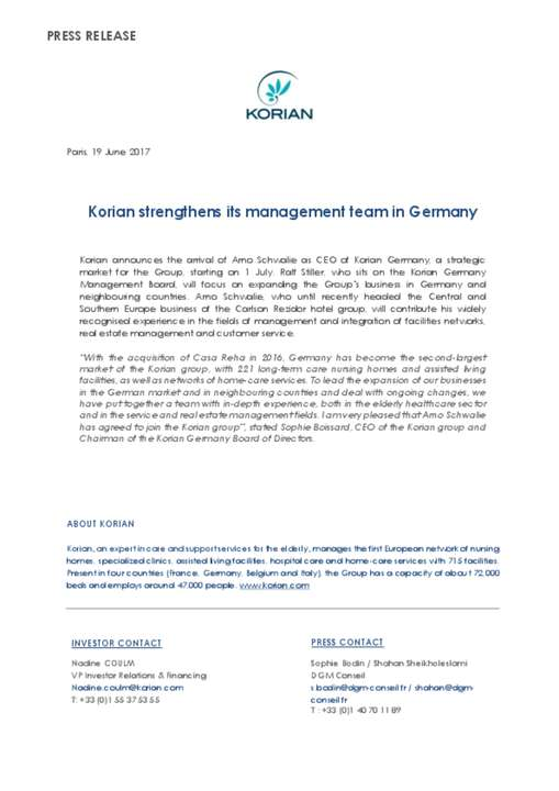 Korian strengthens its management team in Germany