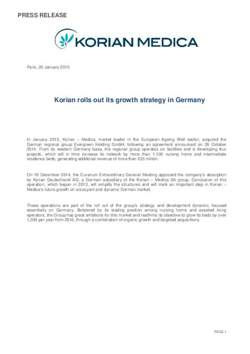 Korian rolls out its growth strategy in Germany