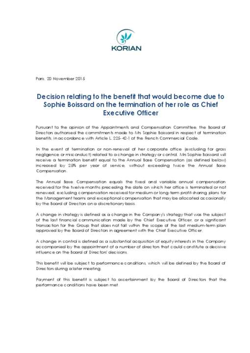 Decision relating to the benefit that would become due to Sophie Boissard
