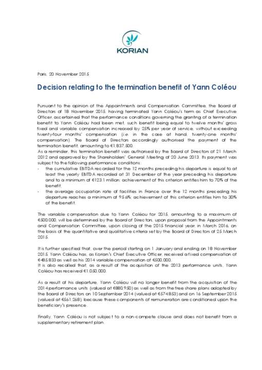 Decision relating to the termination benefit of Yann Coléou