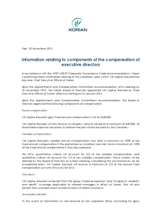 Information relating to components of the compensation of executive directors
