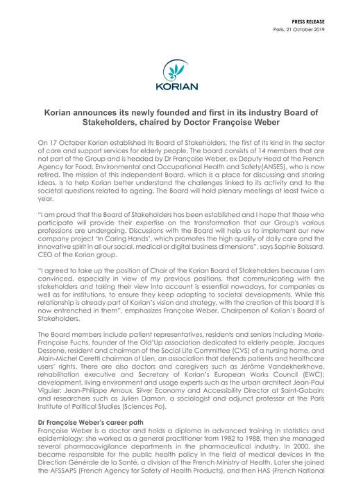 Korian announces its newly founded and first in its industry Board of Stakeholders, chaired by Doctor Françoise Weber