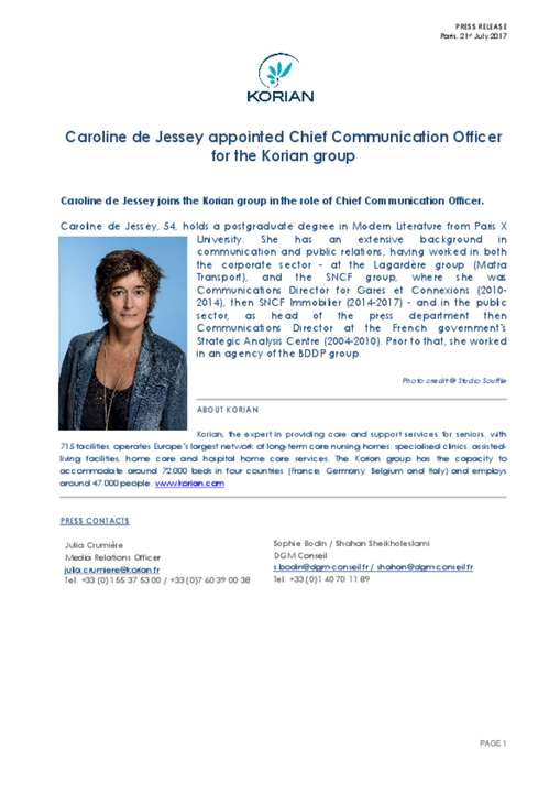 Caroline de Jessey appointed Chief Communication Officer