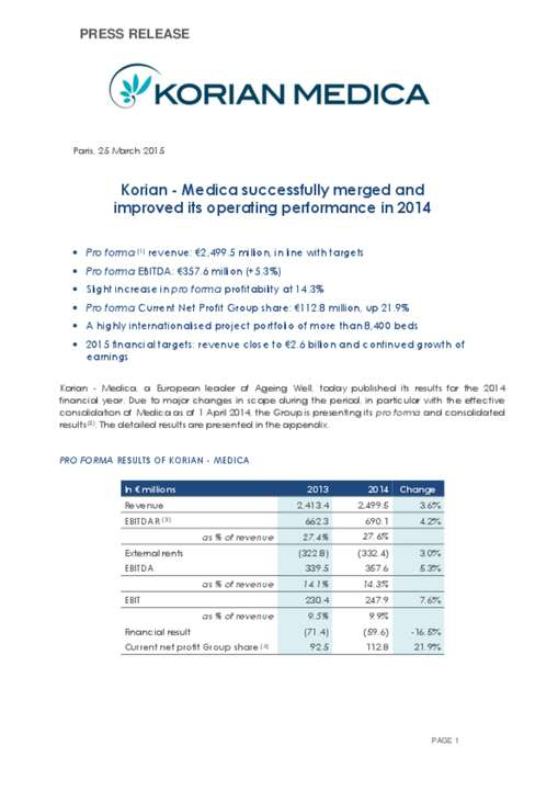 Korian - Medica successfully merged and improved its operating performance in 2014