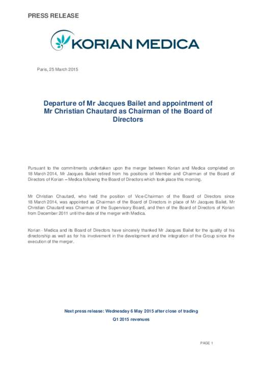 Departure of Mr Jacques Bailet and appointment of Mr Christian Chautard as Chairman of the Board of Directors