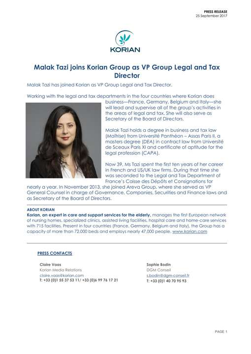 Malak Tazi joins Korian Group as VP Group Legal and Tax Director