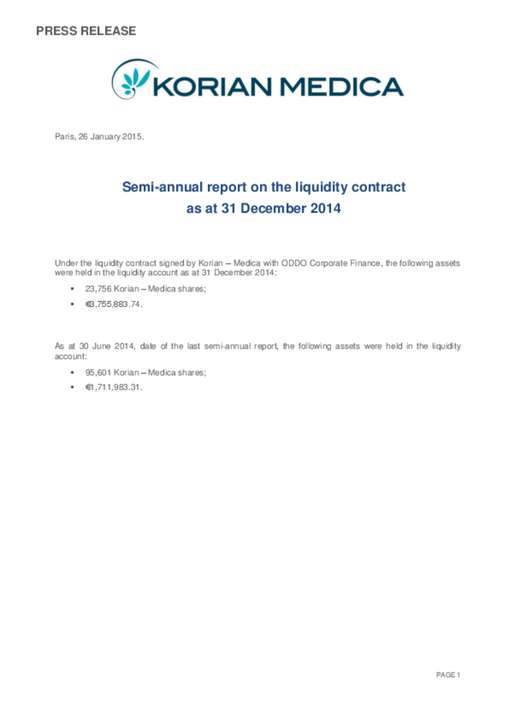 Semi-annual report on the liquidity contract as at 31 December 2014