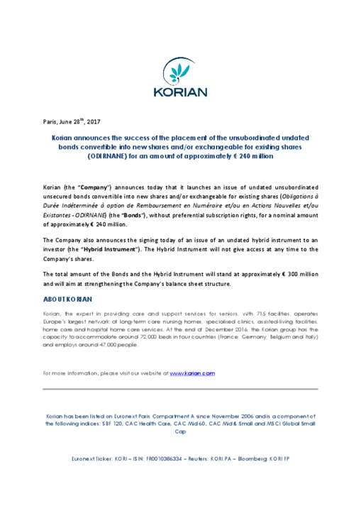 Korian announces the success of the placement of the unsubordinated undated bonds