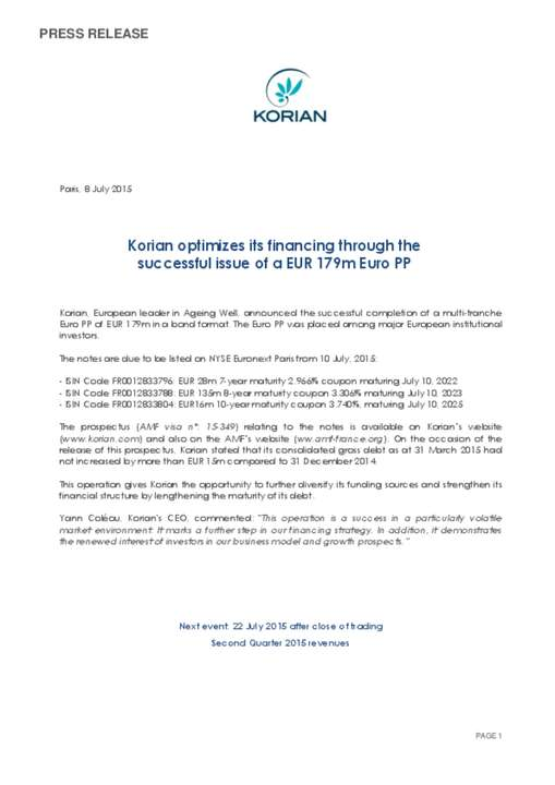 Korian optimizes its financing through the successful issue of a EUR 179m Euro PP