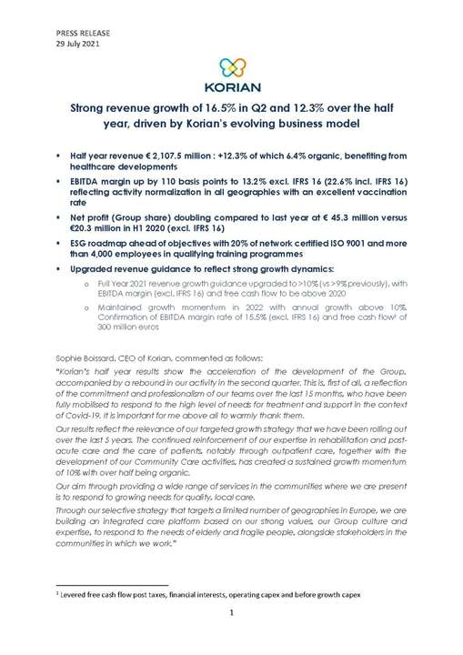 Strong revenue growth of 16.5% in Q2 and 12.3% over the half year, driven by Korian's evolving business model