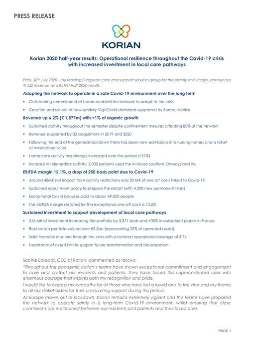 Korian 2020 half-year results: Operational resilience throughout the Covid-19 crisis with increased investment in local care pathways
