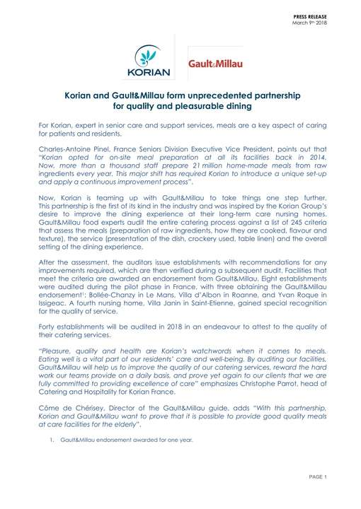 Korian and Gault&Millau form unprecedented partnership