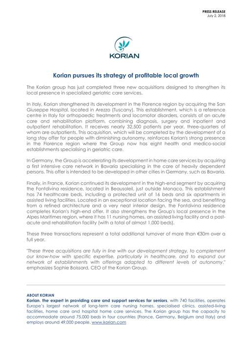 Korian pursues its strategy of profitable local growth