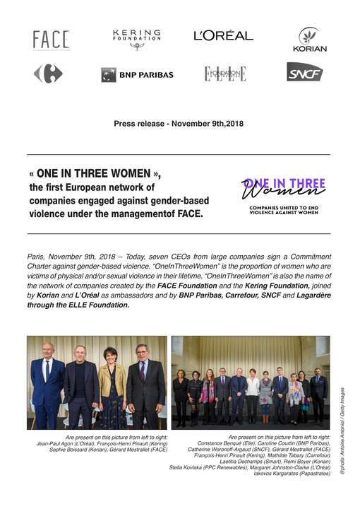 « ONE IN THREE WOMEN », the first European network of companies engaged against gender-based violence under the management of FACE.