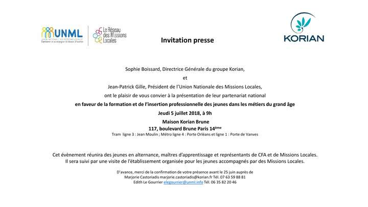 Invitation point presse : présentation partenariat national entre Korian et l'Union Nationale des Missions Locales - 5 juillet 2018