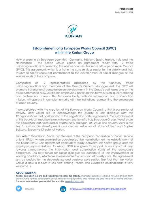 Establishment of a European Works Council (EWC) within the Korian Group