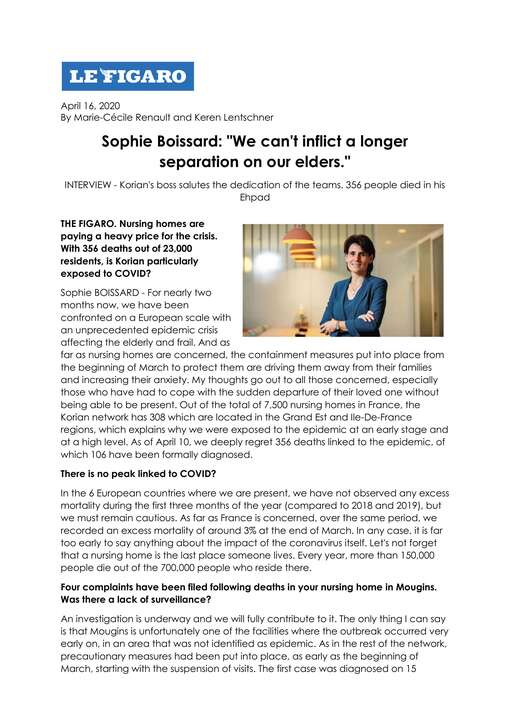LE FIGARO - Sophie Boissard's full interview