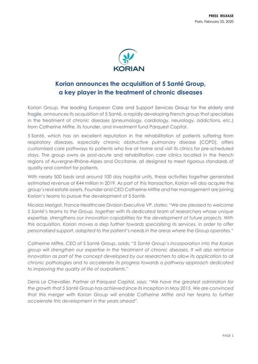 Korian announces the acquisition of 5 Santé Group, a key player in the treatment of chronic diseases