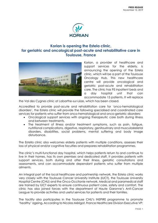 Korian is opening the Estela clinic, for geriatric and oncological post-acute and rehabilitative care in Toulouse, France