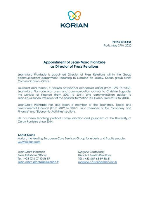 Appointment of Jean-Marc Plantade as Director of Press Relations