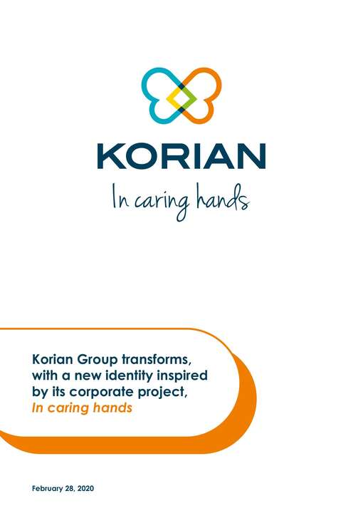 Korian group transforms, with a new identity inspired by its corporate project, In caring hands