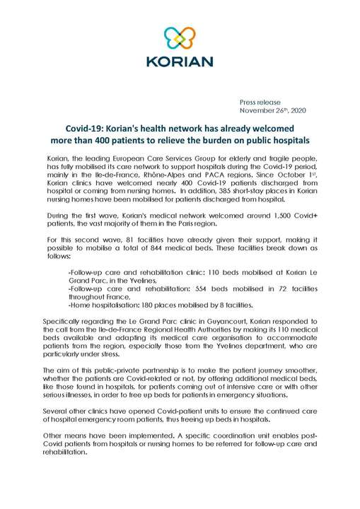 Covid-19: Korian's health network has already welcomed more than 400 patients to relieve the burden on public hospitals