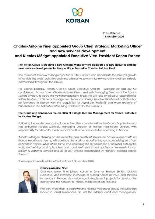 Charles-Antoine Pinel appointed Group Chief Strategic Marketing Officer and new services development and Nicolas Mérigot appointed Executive Vice-President Korian France