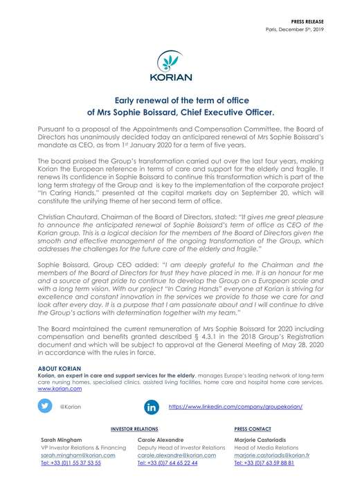 Early renewal of the term of office of Mrs Sophie Boissard, Chief Executive Officer