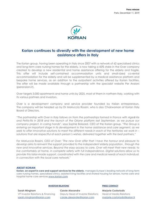 Korian continues to diversify with the development of new home assistance offers in Italy
