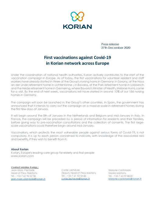 First vaccinations against Covid-19 in Korian network across Europe