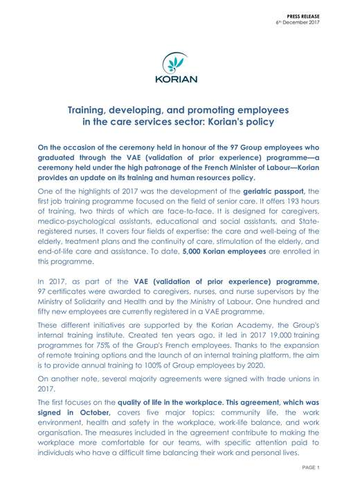 Training, developing, and promoting employees in the care services sector: Korian's policy